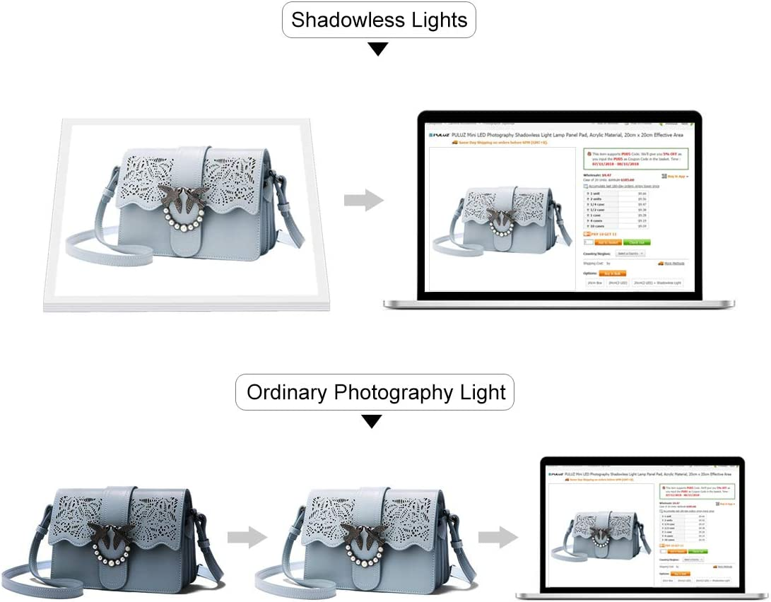 Camera Accessories Mini LED Photography Shadowless Light Lamp Panel Pad Acrylic Material 20cm x 20cm Effective Area