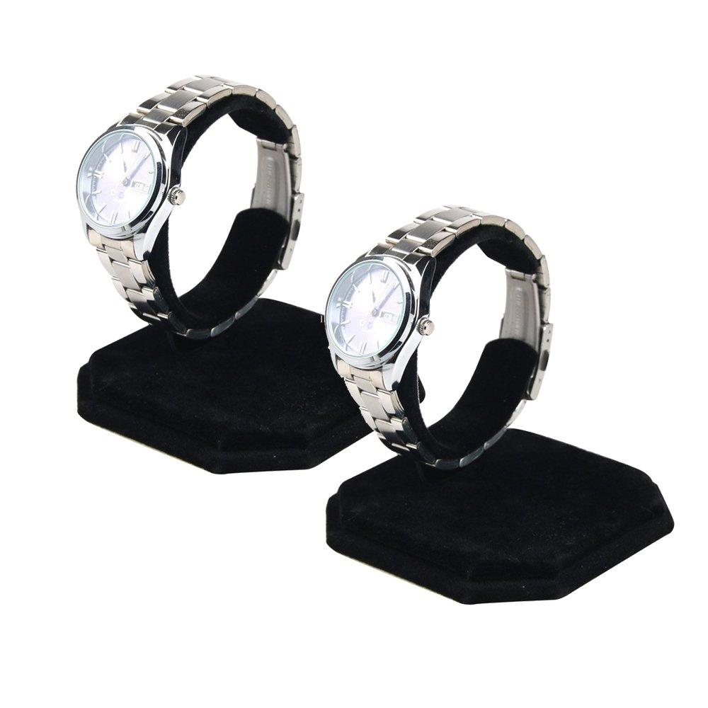 Right Options Velvet Watch Display Stands,Jewelry Bracelet Display Holder 2 Pack(Black)
