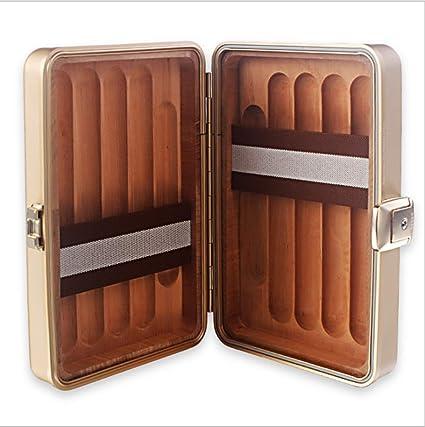 LHFJ Cigarro humidor Cedro de aleación de Aluminio y magnesio Caja de Puros de Madera Mini