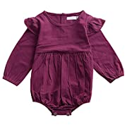 Mother's Angel Infant Romper Baby Girl Twins Outfit Long Sleeve Ruffle Bodysuit,Purple,0-3 Months