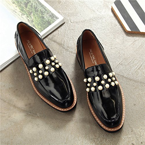 Btrada Womens Fashion Shiny Bead Loafer Oxford Shoes Anti-slip Low Heel Dress Ballet Shoes Black fL4riJWUNH