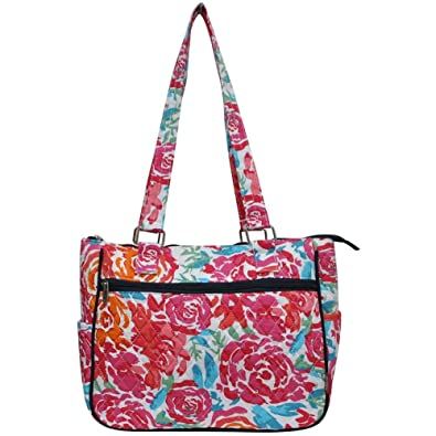 Amazon.com  Ngil Quilted Cotton Shoulder Bag (All Flowers Navy)  Shoes 6b36f7047505