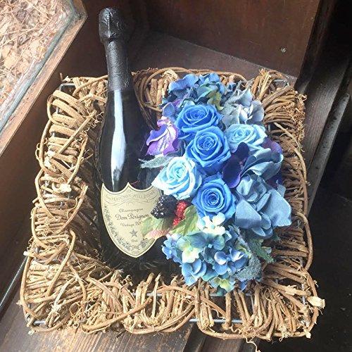 社長就任祝い 花 ドンペリ お祝い シャンパン 開店祝い 周年祝い ギフト ドンペリとプリザーブドフラワーのセット ブルー B077N6CTR2