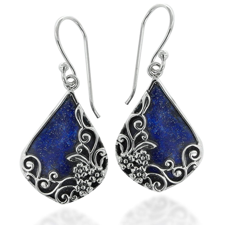 925 Oxidized Sterling Silver Decorative Gemstone Triangle Tear Drop Dangle Earrings