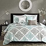 Madison Park - Claire 6 Piece Quilted Coverlet Set - Aqua - Full/Queen - Geometric - Includes 1 Coverlet, 2 Shams, 3 Decorative Pillows