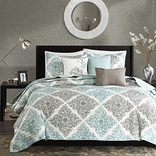 Madison Park Claire Leaf Geometric - 6 Piece Ultra Soft Microfiber Bed Quilted Coverlet, Full/Queen, Aqua (Quilts Aqua Coverlets)