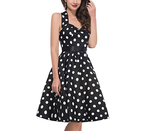 Summer Vestidos Retro 1950s 60s Vintage Dress s Pinup Rockabilly Big Size Sexy Halter Short s at Amazon Womens Clothing store: