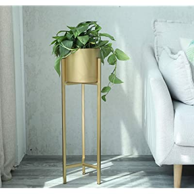 Plant Stand,Tall Flower Pot Stands Indoor Outdoor Metal Potted Plant Holder, Indoor Living Room Balcony Decoration,Gold,25.5inch/65cm: Home & Kitchen