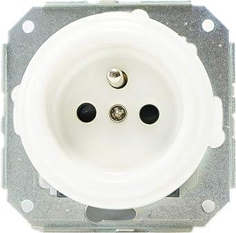 maxtrue enchufe porcelana con tierra (precableada/caja de empotrar 230 V: Amazon.es: Iluminación