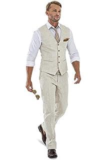 Amazon.com: Grooms 3 piezas traje de boda de lino retro para ...