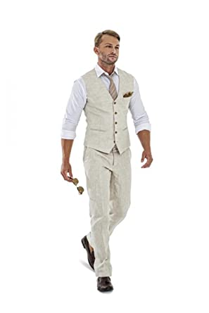 Mens Casual Summer Wedding Attire.Casual Beige Linen Men S Suit 2 Piece Linen Seersucker Suit Mens