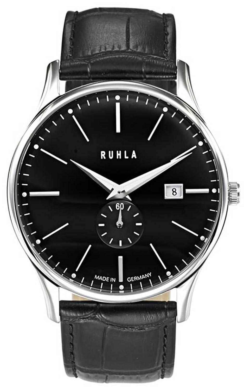 Ruhla classic 91234 Garde Herrenuhr rund Lederband schwarz Armbanduhr Zifferblatt schwarz Datum