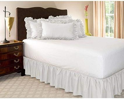Pliegues de cama elásticos alrededor de la falda de la cama, volantes de polvo plisado Cubre Canapé Medidas canapé Faldón de volantes con banda Cubre ...