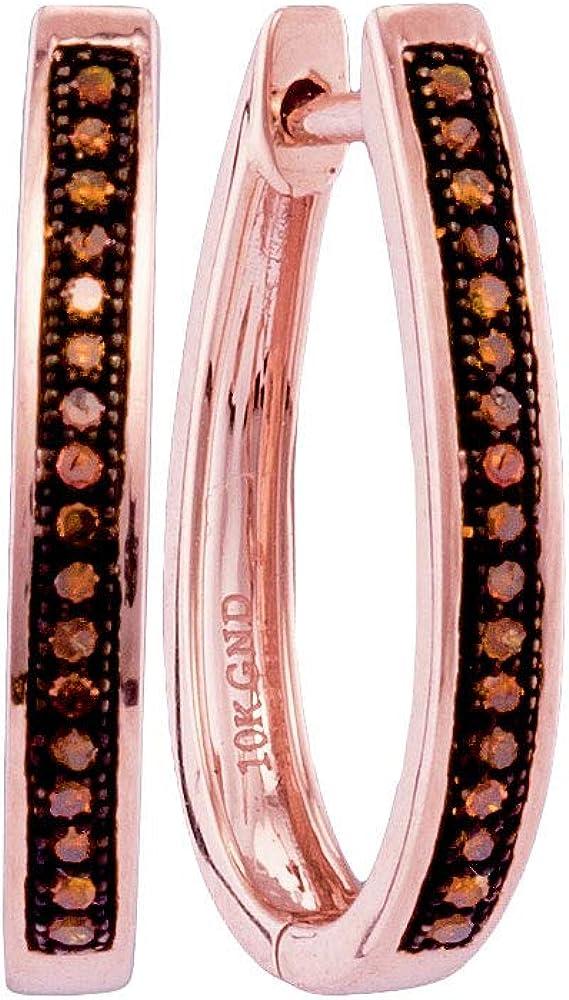 10k Rose Gold Red Diamond Single Row Hoop Earrings 1//10 ct