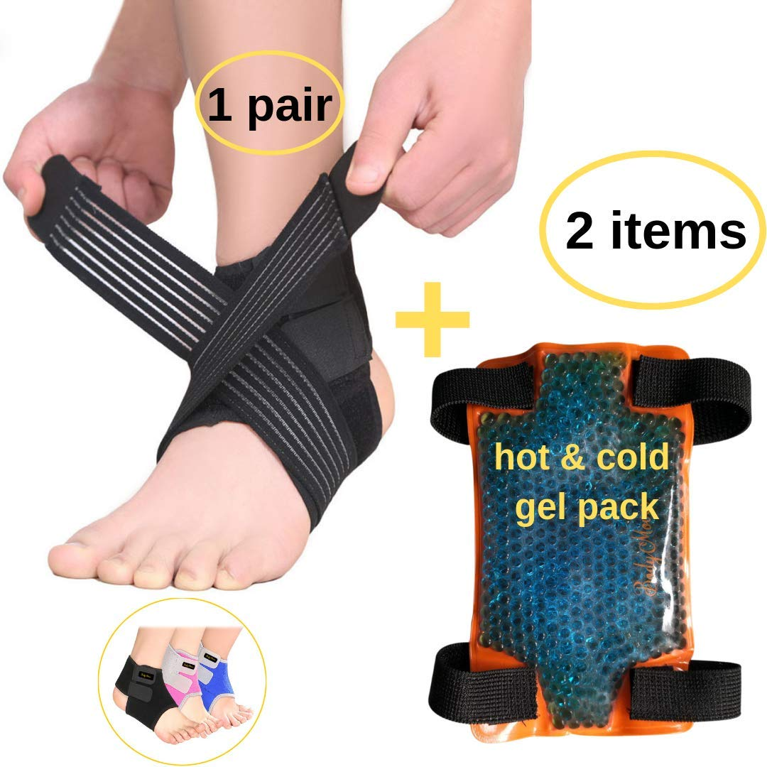 BodyMoves Kid's Ankle Brace Support Plus Hot and Cold Ice Pack (Sporty Black, Small for Little Kids (US 12-3))