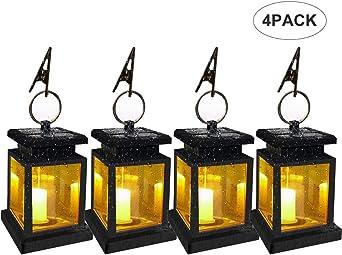 Farol solar para vela Farolillos decorativos Impermeable Farol de jardín con clip para Garden Beach Tree Path (4 Piezas): Amazon.es: Iluminación