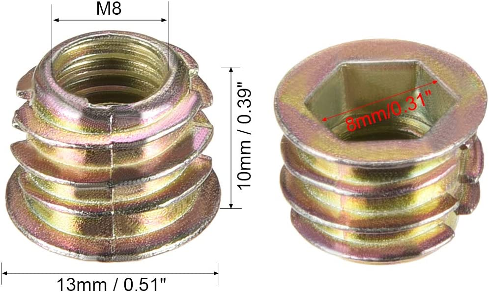uxcell 30pcs M8x10mm Threaded Insert Nuts Zinc Alloy Hex Socket M8 Internal Threads 10mm Length