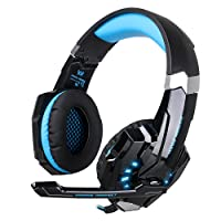 Gaming Headset with Mic for PS4 PC Latest Version Xbox One, EasySMX 3.5 mm Professional Game Headsets for Laptop Tablet Mac Smartphone, Microsoft Adapter Needed if for Old Version Xbox One (Blue)