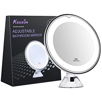 KEDSUM 6.8u0026quot; 10x Magnifying LED Lighted Makeup Mirror,Bathroom Vanity  Mirror With Strong Suction