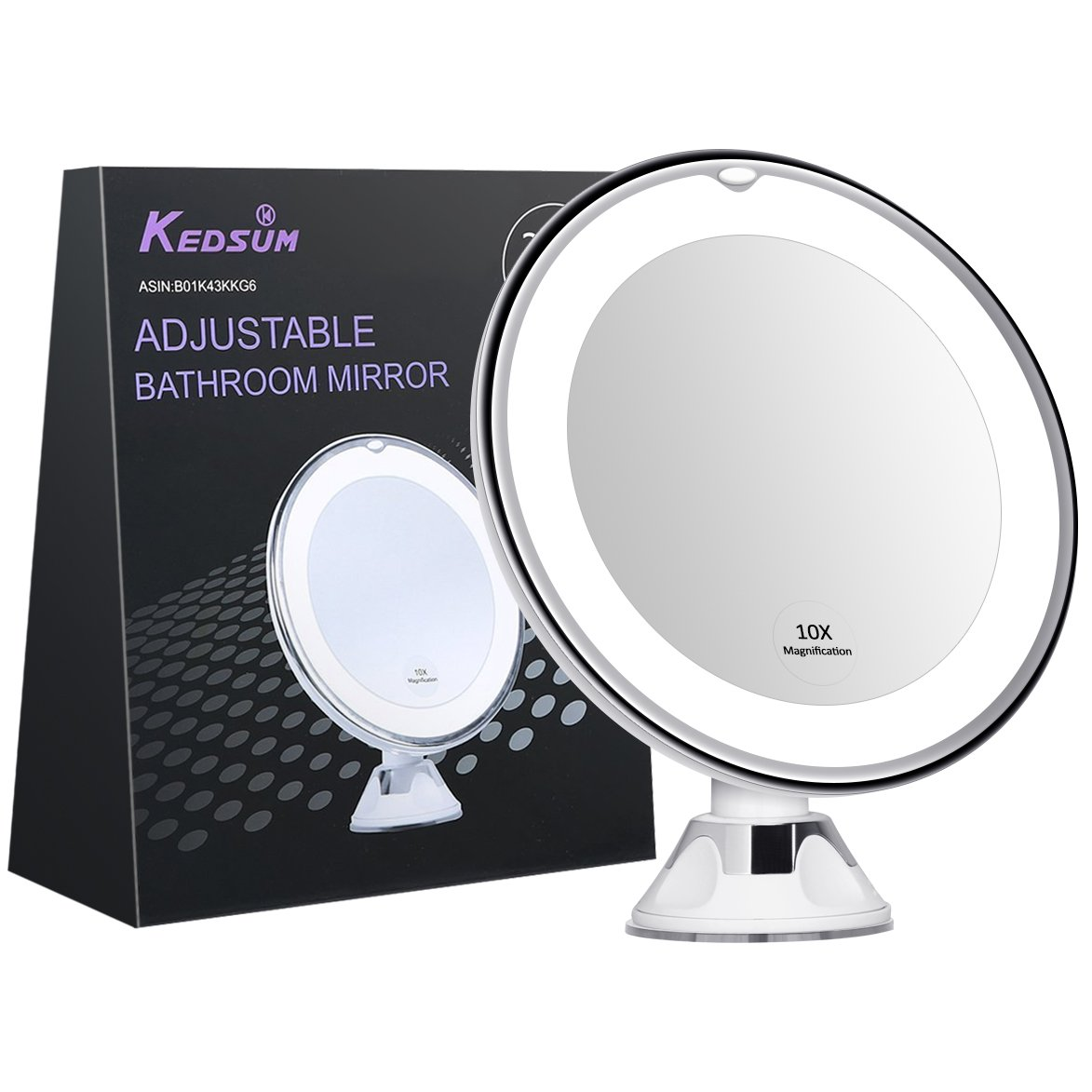"KEDSUM 6.8"" 10x Magnifying LED Lighted Makeup Mirror,Bathroom Vanity Mirror with Strong Suction Cup,Rotates 360 Degrees,Daylight Color,Battery Operated"