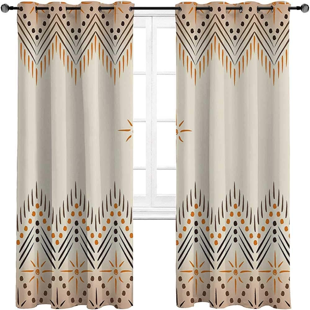 Room Darkening Curtain Geometric Decor All Season Curtains Vintage Primitive Aztec Native American Motif with Folk Art Effect Print for Patio & Hall Room 2 Grommet Top Curtain Panels,27