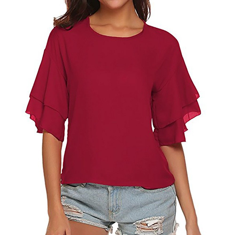 Libermall Women's Casual Summer Ruffles Half Sleeve T-Shirts Solid Color O-Neck Loose Tunic Shirt Blouse Tops Wine Red