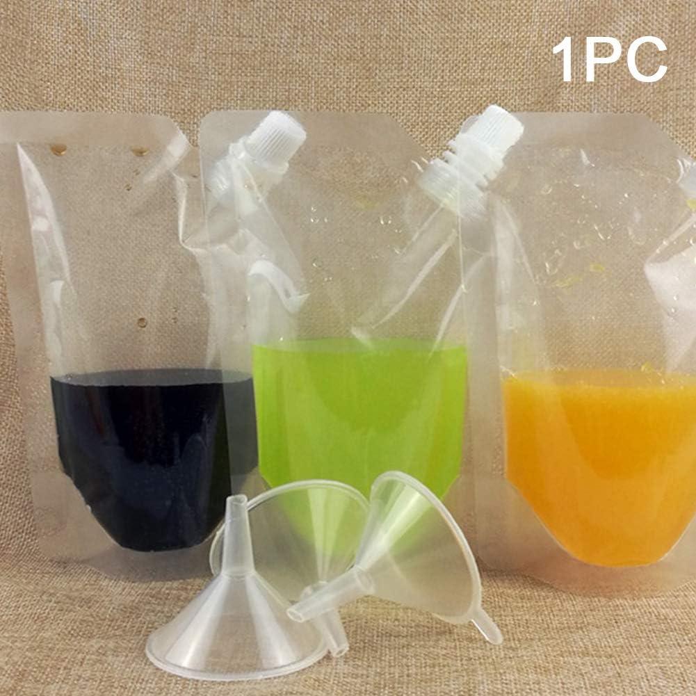 rum a tenuta stagna acqua 250 ml Come mostrato in foto. con beccuccio e imbuto trasparente 20 pezzi per succo e alcol Bottiglie per bevande in plastica