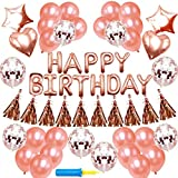 NIUBER Birthday Decorations - Birthday Party Supplies Rose Gold Party Decorations Xenon Foil Balloons Rose Gold Confetti Balloons Happy Birthday Balloon Banner Star Balloons Love Balloons Tassels
