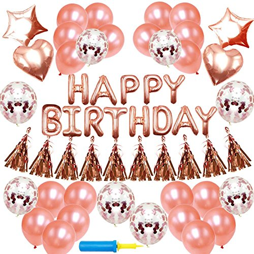 NIUBER Birthday Decorations - Birthday Party Supplies Party Decorations Balloons Rose Gold Happy Birthday Banner Confetti Balloons -