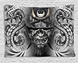Ambesonne Chinese Tapestry by, Artistic Tattoo Like Snakes Flowers Fantastic Monochrome Asian Traditional, Wall Hanging for Bedroom Living Room Dorm, 60WX40L Inches, Grey Black Brown