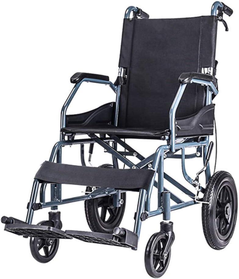 Sillas de ruedas asistidas y de transporte Silla de ruedas con estructura de aleación de aluminio, Carro plegable de malla celular transpirable, Ccooter de viaje para ancianos, Neumáticos sólidos, c