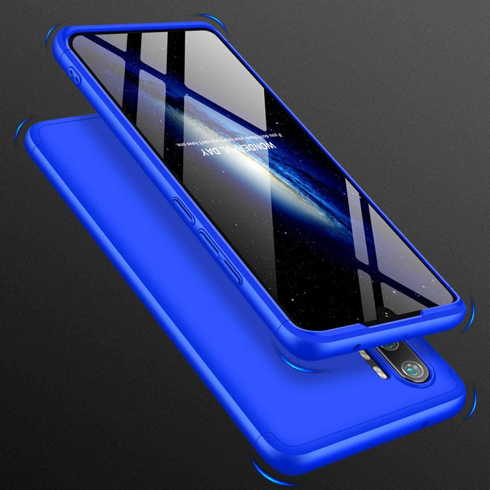 Fundas con 2X Cristal Templado sigua Funda Note 10//CC9 Pro Compatible para Xiaomi Note 10//CC9 Pro 3 in 1 Slim Fit Caso Carcasa 360 /°de Protectora A Prueba de Golpes Anti-Huella Digital-Azul