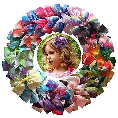 (20pcs Rainbow Ribbon Hair Bows Clips Baby Girl's Grosgrain Ribbon Bows Alligator Clips Toddler Bows Hair)