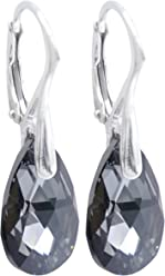 Women's 16mm Ruby Crystals From Swarovski® Pear Earrings. Made with Genuine Solid Sterling Silver. Stamped 925. 3GR Total Weight. zm23c7ew