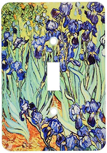 3dRose lsp_155630_1  Irises by Vincent Van Gogh 1889 Purple Flowers Iris Garden Copy of Famous Painting by The Master Single Toggle Switch ()