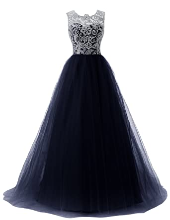 Dressystar Straps Bridesmaid Dresses Prom Gowns With Buttons On Back Size 4 Navy