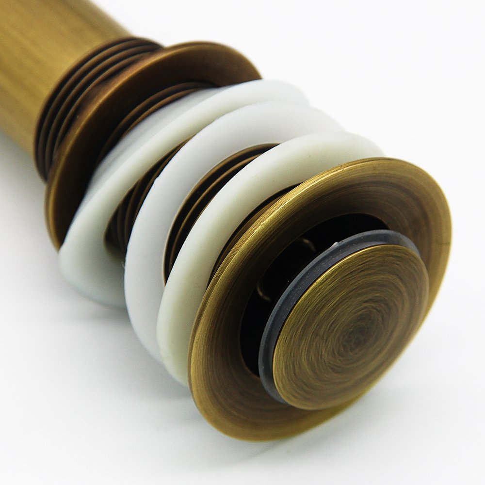 KUNGYO V/álvula Desag/üe Pop Up Tubo de Lavabo Accesorios Tap/ón de Ba/ño sin Rebosadero Tuber/ía de Bronce Lavadora Cubierta Peque/ña Tama/ño General 3.6cm Negro