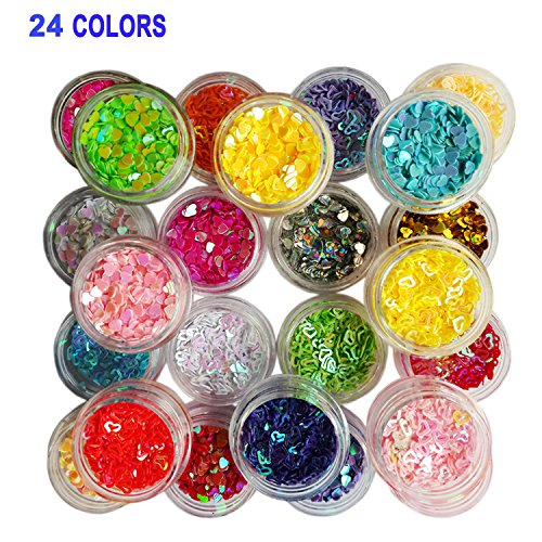 Lasten 24 cols Manicure Glitter Confetti, 3D Glitter Confetti Shapes, Mixed Shapes Nail Art Set, Hollow Solid Heart Confetti, Great for Art Projects, Parties, DIY Crafts & Decoration - Nail Art Confetti Shapes
