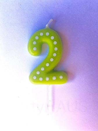 Amazon.com: Velas de 2º cumpleaños, número 2, azul, verde ...