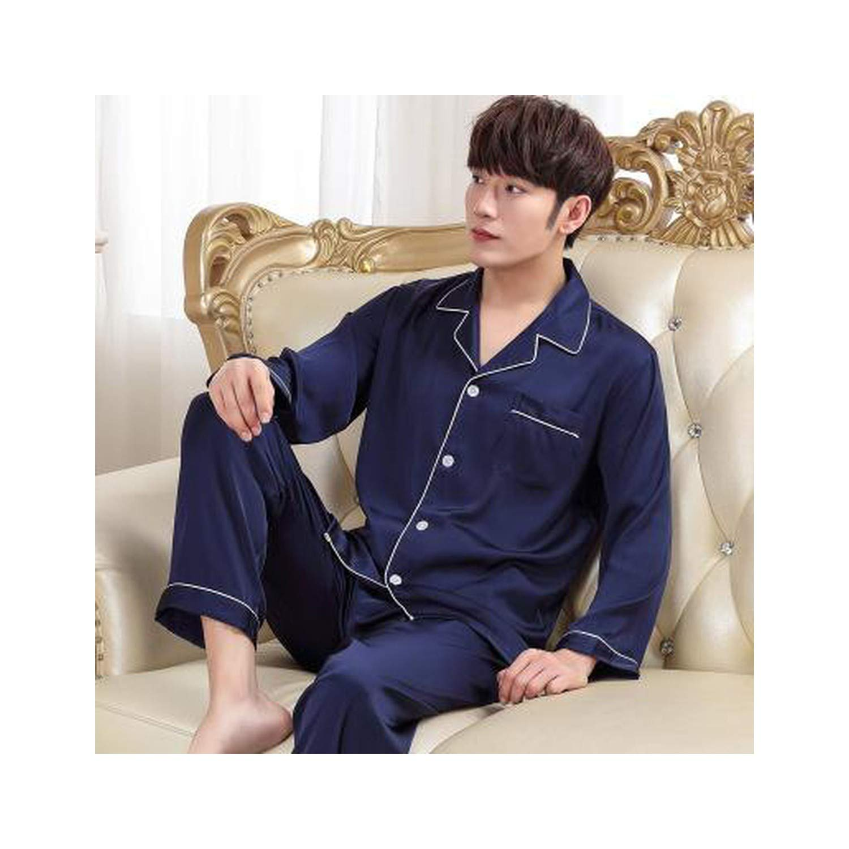 2pcs Womens Silk Satin Blend Pajamas Sets Sleepwear Nightwear Solid Homewear