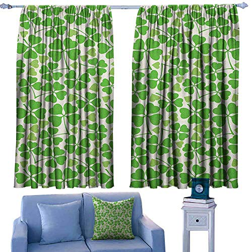 - ParadiseDecor Irish Rod Curtains Gaelic Nature Garden Theme Spring Clovers with Cute Hearts Freshness,Backout Curtains for Kids Iving Room,W52 x L84 Inch