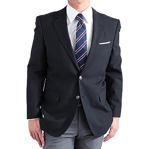 紺ブレザー メンズ テーラードジャケット シングル 2ボタン ネイビー 背抜き仕立て 春夏 定番スタイル アイビールック 516701-88 AB体 (がっちり体型) 4号 (身長160-165cm)