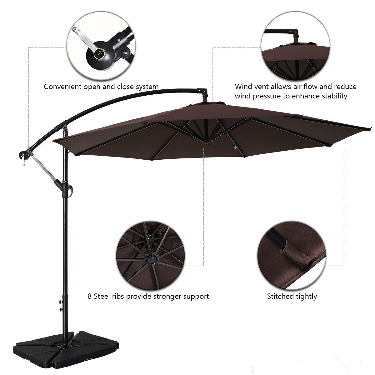 Sumbel Outdoor Living Offset Hanging Umbrella 10 Ft Cantilever Patio Umbrella Outdoor Market Umbrellas with Cross Base, (Coffee)