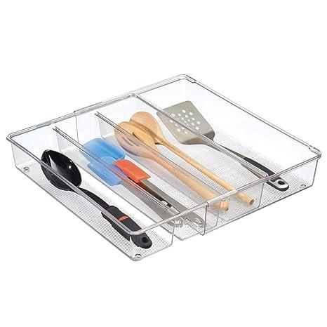 mDesign Cubertero para cajón extensible – Organizador de cubiertos para cajones – Separador de cajones para