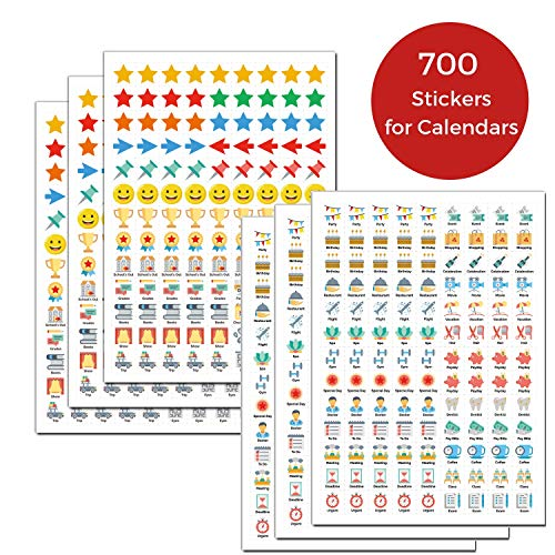 Daily Planner Stickers for Calendars: (Set of 700), 48 Unique Designs, Calendar Stickers for Bullet Journal, Daily Planner, Agenda or Notebook, Planner Stickers and Office Accessories by Cranbury
