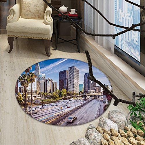 Travel Round Rug Kid Carpet Downtown Cityscape of Los Angeles California USA Avenue Buildings Palms PrintOriental Floor and Carpets Blue Grey Green