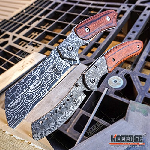 BUCKSHOT KNIVES 2 PC Cleaver Combo HIKING FOREST Etched Damascus Set 8.75