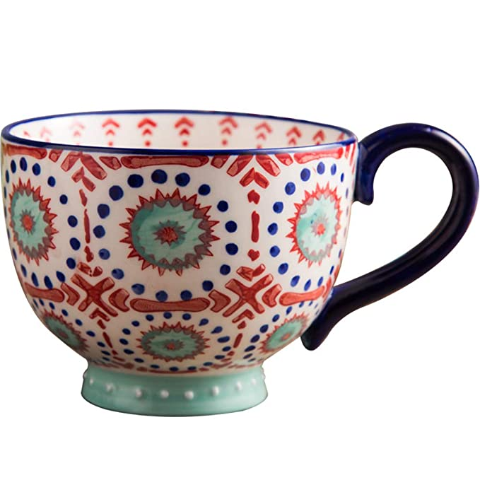 LOYWT Copas grandes de harina de avena, tazas de desayuno, tazas de harina de avena, tazones de cereales, tazas de leche, cerámica, gran capacidad, tazas, ...