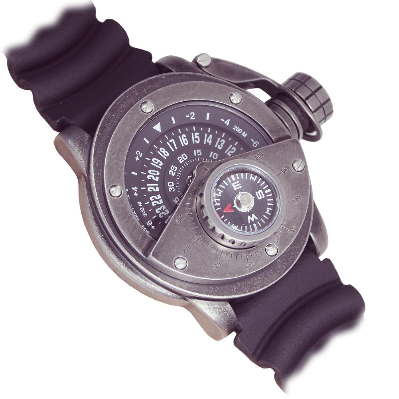 Retrowerk Diver 24-h Scheiben Uhr Kompass - Spezialkronenhebel R004PU