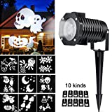 Christmas Light Projector, Ucharge Rotating Snowflake Spotlight, 10slide White Landscape Led Projector Light Show Party, Holiday Decoration - 4 Pack
